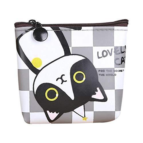 BOENTA Mini Geldbeutel Täschchen Brieftasche Koreanische Niedliche Tier Münztüte Kleine Brieftasche Cartoon Katze Pu Haut Mini Münztüte Grid