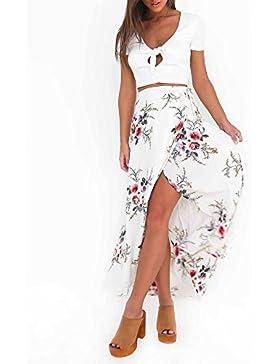 Mujeres De Cintura Alta Verano Casual Boho Maxi Falda De Estampado Floral