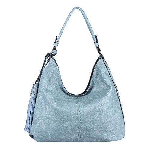 OBC XXL Damen METALLIC Hand-Tasche Shopper Hobo Bag Schultertasche Umhängetasche Henkeltasche Beuteltasche Bowling Fransen (Blau 49x34x12 cm)