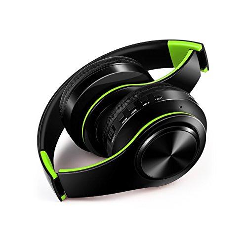 Stereo Gaming Headset, SAZI Sport Kopfhörer Tragbar PC-Headset Wireless Gaming Kopfhörer mit Mikrofon 3.5mm On Ear Surround Sound Ohrhörer (Grün Schwarz) - 2