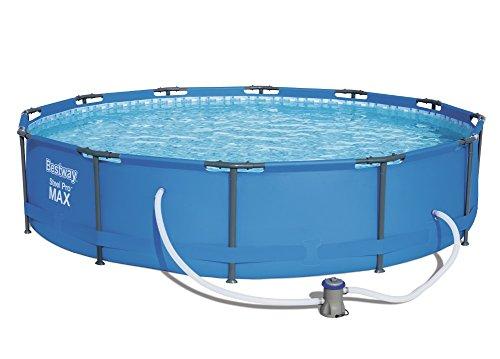 Bestway Steel Pro MAX Frame Pool Set, rund 366x76 cm Stahlrahmenpool-Set mit Filterpumpe, blau