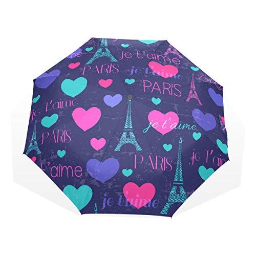 GUKENQ Paris Eiffel Torres con Corazones Paraguas de Viaje Ligero Anti UV Sun Rain Umbrella para Hombre Mujer Niños Parasol Plegable Resistente al Viento Compacto Paraguas