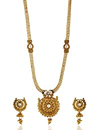 Reeti Fashions - Gold Stone Studded Oval Motif Layer Necklace Set For Women (RF17_10C_67)