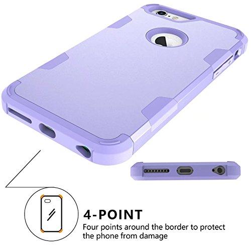 YHUISEN Schock-Absorption Drei-Schicht-Rüstung Defender [Heavy Duty] Robuste Hybrid Schutzhülle für iPhone 6 Plus / 6S Plus ( Color : Gray Orange ) Purple