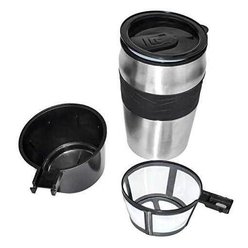 Coffee Maker, Powerlead Single Cup Coffee Personal One Cup Coffee Maker with Travel Coffee Mug Coffee Dripper Brew with Ground Coffee or Coffee Pods