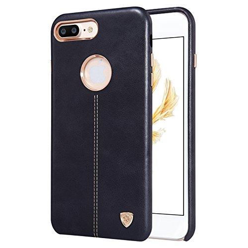 iPhone 7 Plus Lederhülle, Nillkin Englon Premium PU Leather Cover Ledertasche Ultra dünne Lederhülle Schutzhülle Handyhülle Bump Case Back Cover für iPhone 7 Plus (Braun) Schwarz
