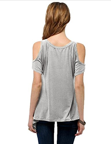 Bestgift Damen Bluse 5 Farbe V-Ausschnitt Shirts Dunkel Grau