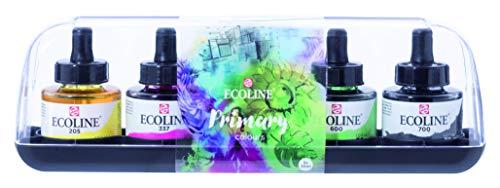 Ecoline Tinte - Set - 5 x 30 ml Flaschen inkl. Primärfarben