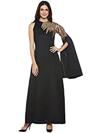 Black extended single sleeve embroidered dress