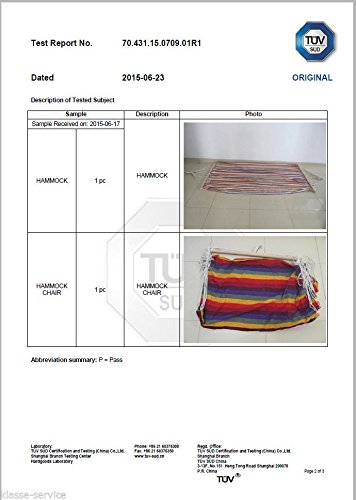 Kronenburg Hängesessel / Hängestuhl XL mit Querholz – Belastbarkeit bis 150 kg Bunt - 4