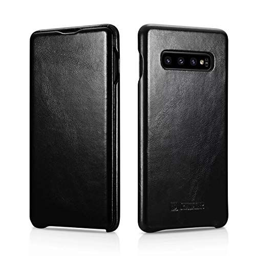 Serie Flip-top - (ICARER Galaxy S10 Plus Fall, [Curved Retro Series] Echtes Leder Tasche Flip Cover [Ultra Slim] mit starkem Magnetic Hülle für Samsung Galaxy S10+ Case (S10, Schwarz))