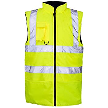 Myshoestore Hi Viz Vis Bodywarmer Fleece Lined Reversible High Visibility Reflective Waterproof Workwear Security Safety Wear Warm Gilet Waistcoat Body Warmer Padded Vest Size S-5xl 0