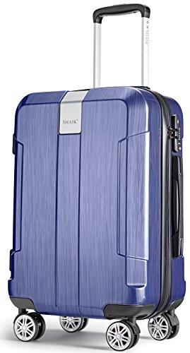 SHAIK® Serie ICEBERG, SFO Größe M Handgepäck Boardgepäck Koffer, 32 Liter TSA Schloss, (Blau, Handgepäck) Car Seat Travel Bag Wheels
