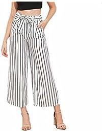 Reaso Chic Femmes Large Pantalon Raye Taille Haute évasé Longues Palazzo Casual Pantalons Vintage Jambe Pants