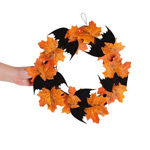 Halloween Kränze - Sevenfly Fall-Ahornblatt-Halloween-Kranz-Weihnachtskünstlicher Kranz-Haustür-Dekorations-Erntedank-dekorative