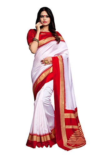 AppleCreation Women's Silk Cotton Saree With Blouse Piece (Bhagalpuri Sarees 7Pj5012, Off-White,...