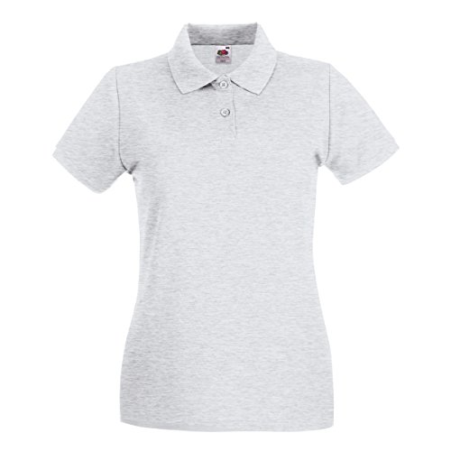 Fruit Of The Loom Lady-Fit Premium Polo Shirt Large,Aschgrau (Premium Pique Polo Womens)