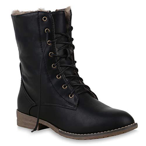 Warm Gefütterte Damen Stiefeletten Worker Boots Kunstfell Schuhe 125875 Schwarz Braun Brooklyn 39 Flandell