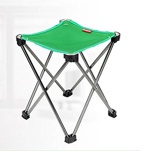 Portable pliant Tabouret Camping en aluminium, extérieur léger Nouveau Design Chaise pour barbecue Camping Pêche randonnée Garden Beach Tissu Oxford avec sac de transport, Vert, Kaki, Noir (9\