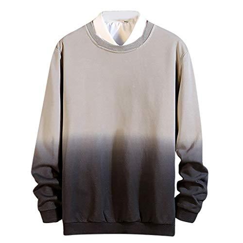 PAOLIAN Herren O-Ausschnitt T-Shirt Sport Lässige Große Größe Lose Allmählich GefärbtBaumwolle Pullover Mode Langarmschutz Bluse M/L/XL/2XL/3XL/4XL/5XL -