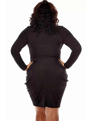 PLUS Größe Damen Sexy Tief V Hals massiv Plissee Cocktail Mini Kleid Schwarz