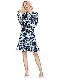 118690196ff Debut Womens Navy Floral Print Chiffon Knee Length Dress 10