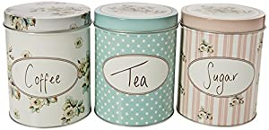 "Katie Alice ""Cottage Flower"" 3 Piece Set of Large Coffee, Sugar & Tea Storage Tins by Creative Tops – 4.21"" x 5.1"" (10.7 x 13 cm)"