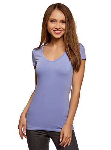 oodji Collection Damen Tagless T-Shirt Basic mit V-Ausschnitt, Violett, DE 34/EU 36/XS (Ärmel Paspel)