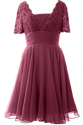 MACloth - Robe - Trapèze - Manches Courtes - Femme rouge vin