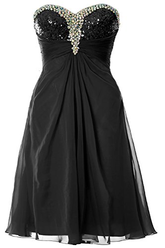 MACloth Women Strapless Sweetheart Crystal Short Prom Dress Formal Party Gown Schwarz