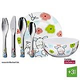 WMF Farmily - Vajilla para niños 6 piezas, incluye plato, cuenco y cubertería (tenedor, cuchillo de mesa,...