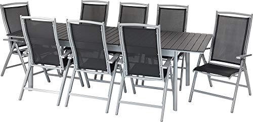 ib style®Polywood Gartengarnitur | Tisch+ 8X Klappstuhl President|pflegeleicht und witterungsbeständig | Tisch: 205-260x100cm
