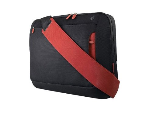 Belkin Messenger Bag Kuriertasche (Umhängetasche für Notebooks bis zu 39,6 cm (15,6 Zoll)) kohlenschwarz/weinrot (Polyester-messenger-portfolio)