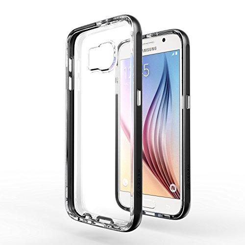 Azorm Handyhülle für Samsung Galaxy S6, Hybrid Edition Smartphone Hülle, Bumper Schutzhülle Anti-Rutsch und Kratzfest, Silikon Rückseite Transparent - Schwarz (Metalleffekt)
