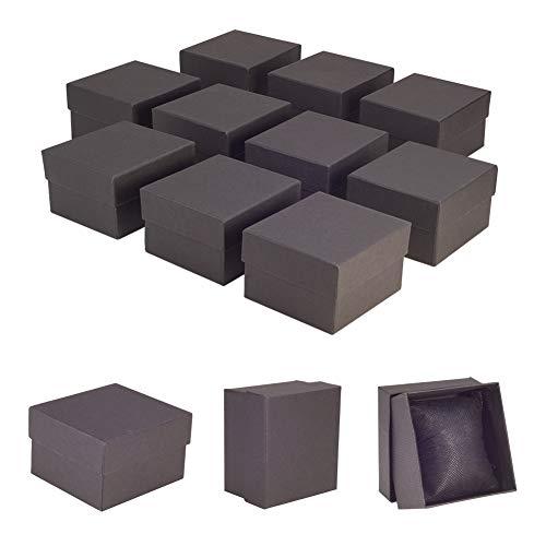 nbeads Lot de 10 Petites Boîtes en Papier Kraft pour Bijoux et Montres - avec Éponge À L'Intérieur - Noires - 8,9 × 8,1 × 5,4 cm