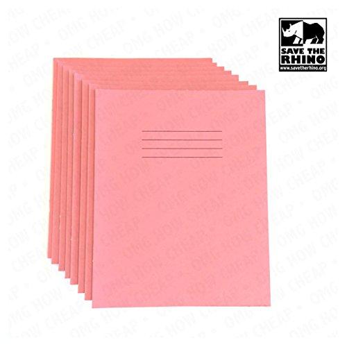 School Exercise Books - 48 Page - Pink Cover - Plain/Blank Pages A5 [Pack of 8]