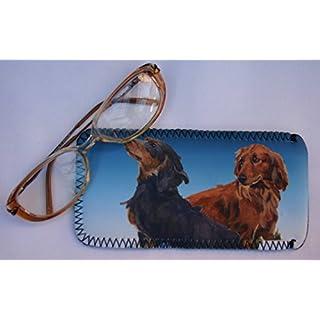 DACHSHUND LONG HAIRED DOG GLASSES CASE POUCH design Sandra Coen