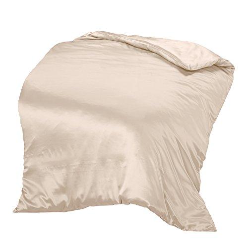 THXSILK Seide Bettbezug, Seide Tröster Cover, 100% 19 Momme Bestnote Maulbeerseide Bettwäsche - Hellbeige braun 135x200cm (Maulbeere-seide-stoff)