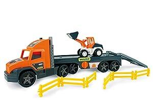 Unbekannt Wader 36720 Super Tech Truck - Camión de Juguete con Excavadora y Barrera (a Partir de 3 años, Aprox. 78 cm.