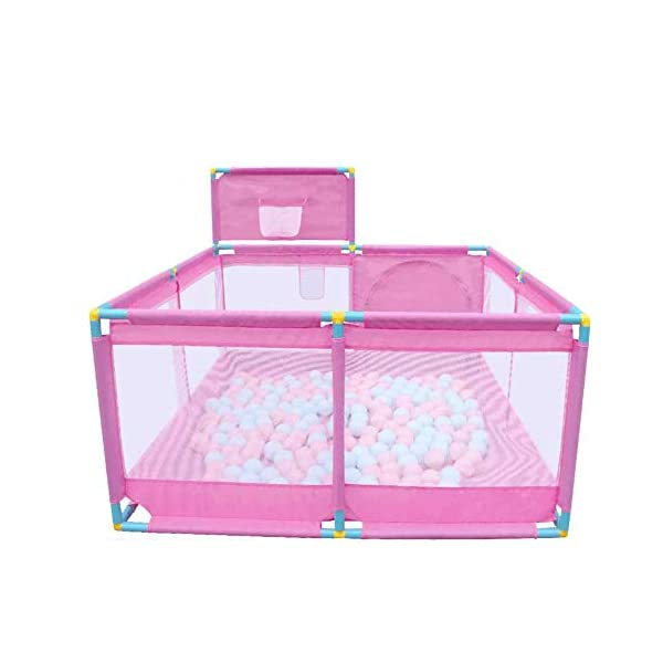Portable Pink Playpen, Toddler Game Security Fence with Basketball Hoop, 128×128×66cm (Size : Playpen+200ball) Playpens  1