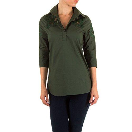 Damen Bluse Spitzen Hemd Grün 40 (Wide Leg Bermuda)
