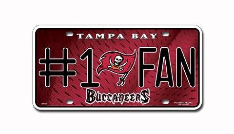 NFL Tampa Bay Buccaneers #1 Fan Metal Auto Tag