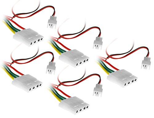Xilence by COM-FOUR® Fan Silencer 12V zu 7V Adapter für Gehäuselüfter Set (5 Stück)