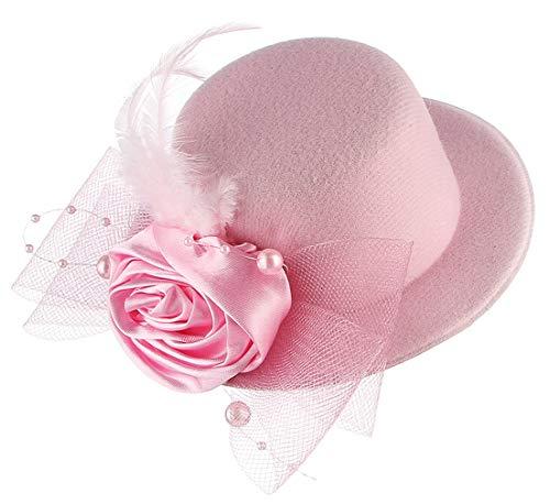 GEMVIE Mädchen Kopfschmuck Fascinator Mini Hut mit Schleier Hochzeit Haarschmuck Partyhut Pink