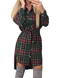 Style Dome Camicia Donna Maglie Donna Manica Lunga Camicia a Quadri Vestito Bluse Camicie Blusa Scollo V Casuale Taglie Forti Giacca Donna Elegante con Cintura