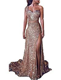 902c5b35b72b65 Betty-Boutique Gold Sparkling Sequin One Shoulder Evening Prom Long Dress  Size 12 YL1630