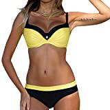 OverDose Damen Padded Push-Up-BH Dreieck Bedruckte Schlinge Bikini Set Badeanzug Badeanzug Bademode Beachwear Badeanzüge (M, V-Gelb)