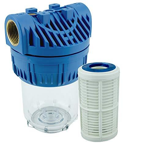 5 Zoll Vorfilter Nachfilter für Hauswasserwerke Hochdruckreiniger Gartenpumpen Schmutzfilter Wasserfilter mit Anschluss Messing-Innengewinde 1 Zoll (ca.30,93mm) inkl. Filtereinsatz und Zubehör