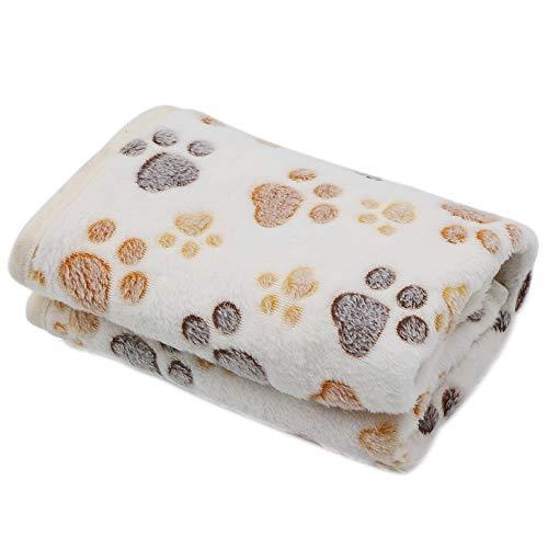 HanDingSM Super Weich Warm Puppy Haustier Decke,Haustier Hunde Decke, Fleece Stoff Soft Atmungsaktiv Kissen Schlafen Matte (M, Pfote)