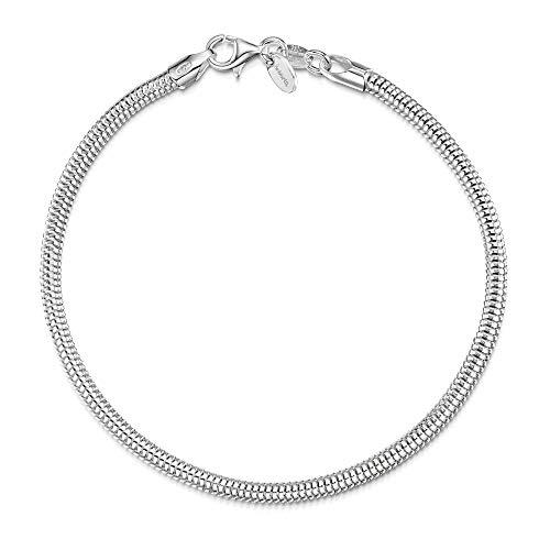 Amberta® Pulsera Componible para Abalorios en Plata de Ley 925 - Brazalete de Serpiente 3 mm para Charms para Mujer - Talla 19 cm